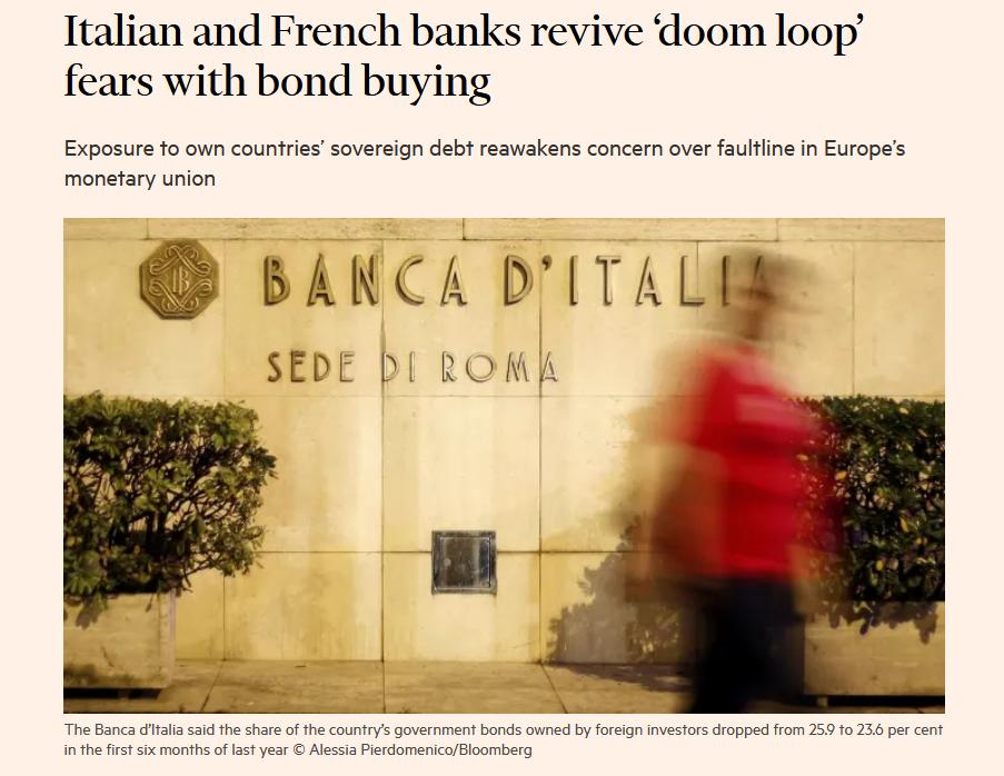 Alert FT su doom loop nel caso delle banche italiane e francesi